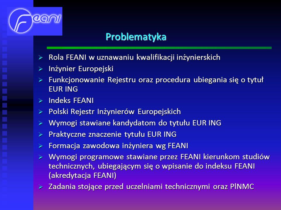 Problematyka Rola FEANI w uznawaniu kwalifikacji inżynierskich