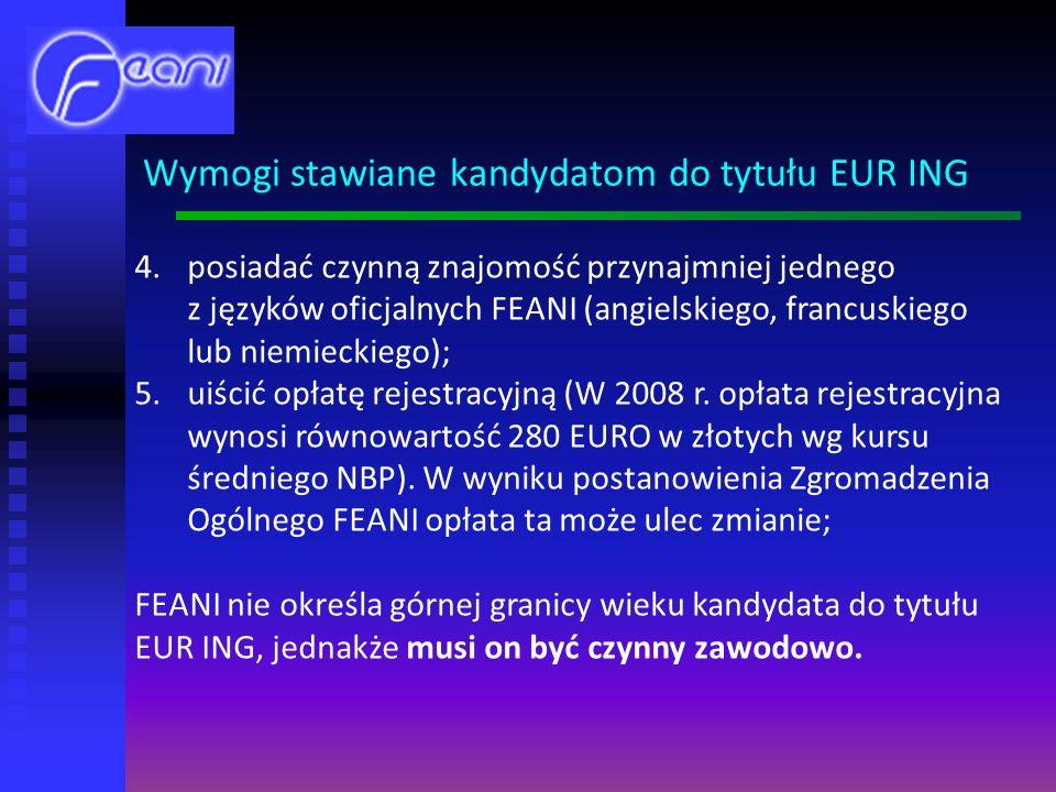 Wymogi stawiane kandydatom do tytułu EUR ING
