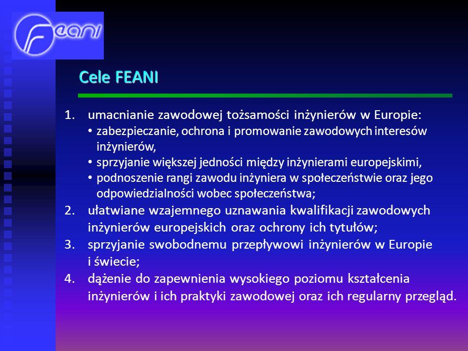 Cele FEANI umacnianie zawodowej tożsamości inżynierów w Europie: