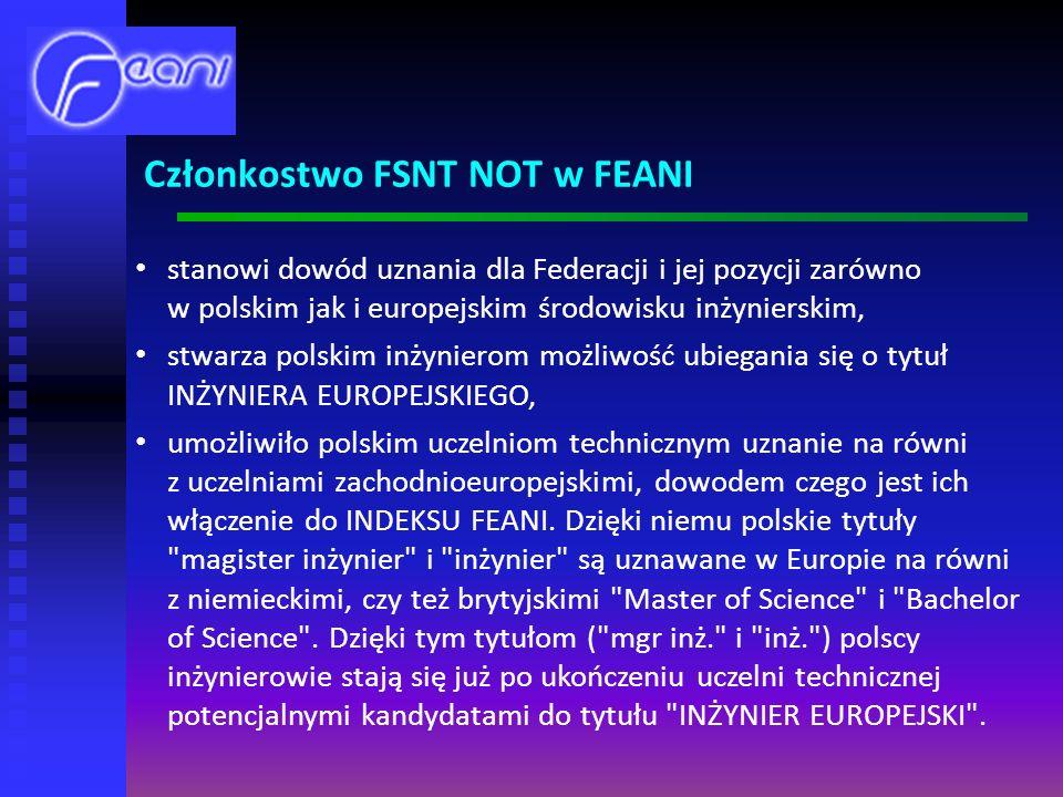 Członkostwo FSNT NOT w FEANI
