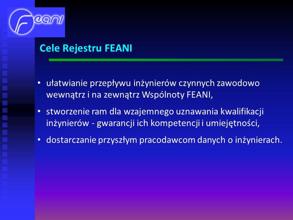 Cele Rejestru FEANI ułatwianie przepływu inżynierów czynnych zawodowo wewnątrz i na zewnątrz Wspólnoty FEANI,