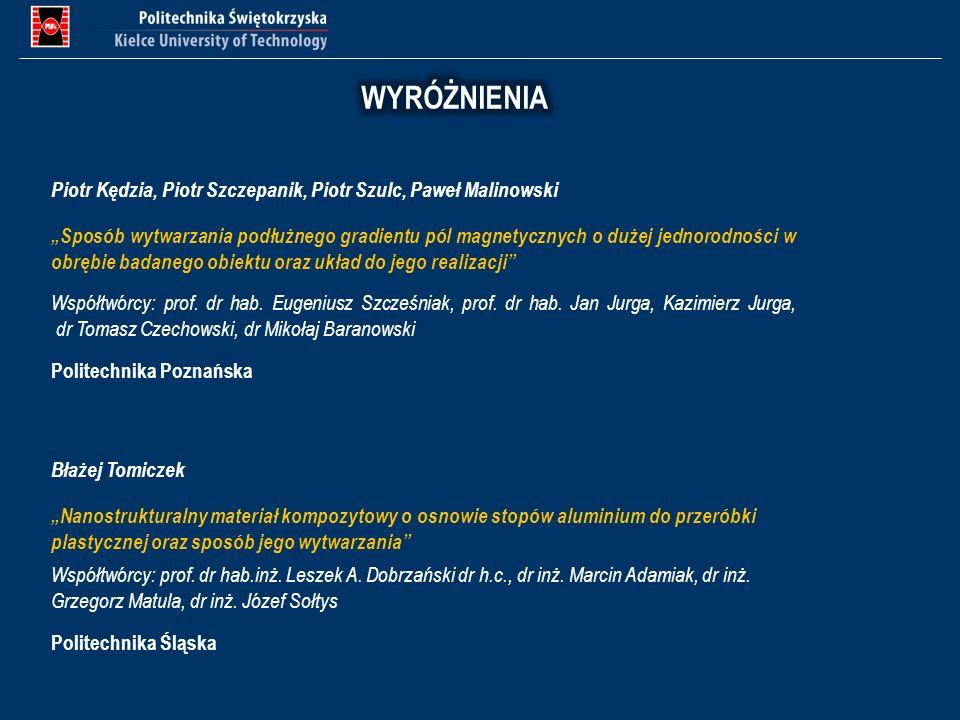 WYRÓŻNIENIA Piotr Kędzia, Piotr Szczepanik, Piotr Szulc, Paweł Malinowski.