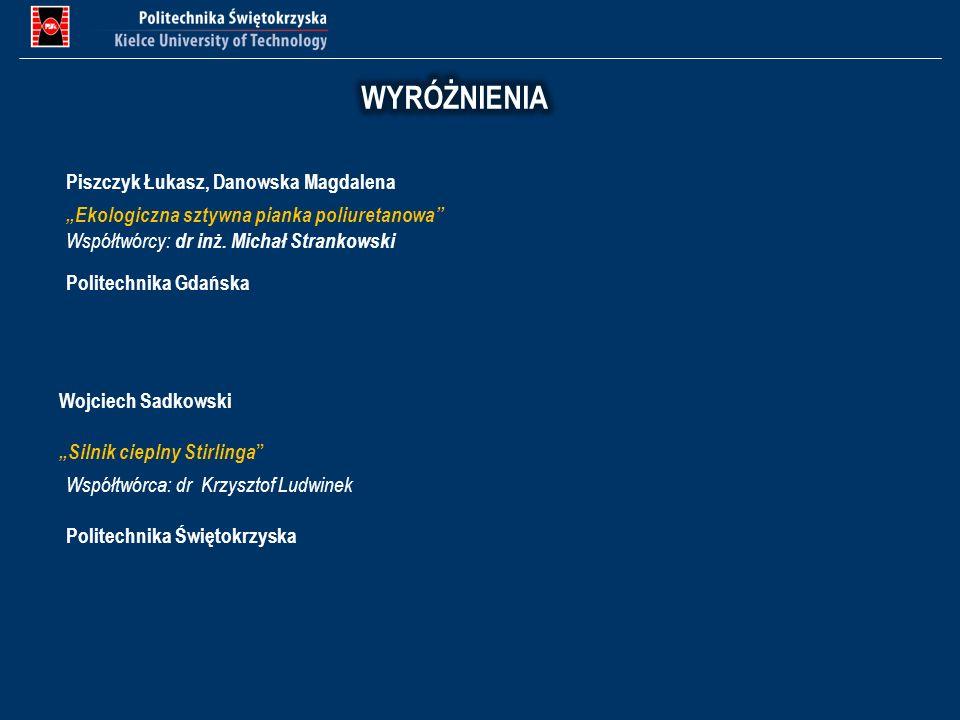 WYRÓŻNIENIA Piszczyk Łukasz, Danowska Magdalena
