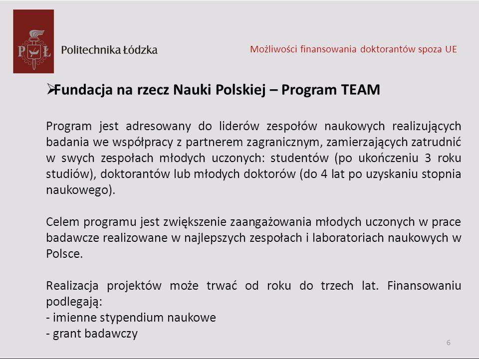 Fundacja na rzecz Nauki Polskiej – Program TEAM