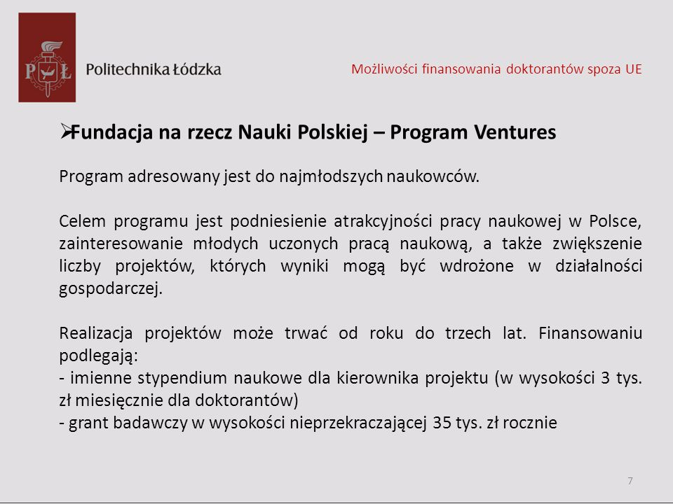 Fundacja na rzecz Nauki Polskiej – Program Ventures