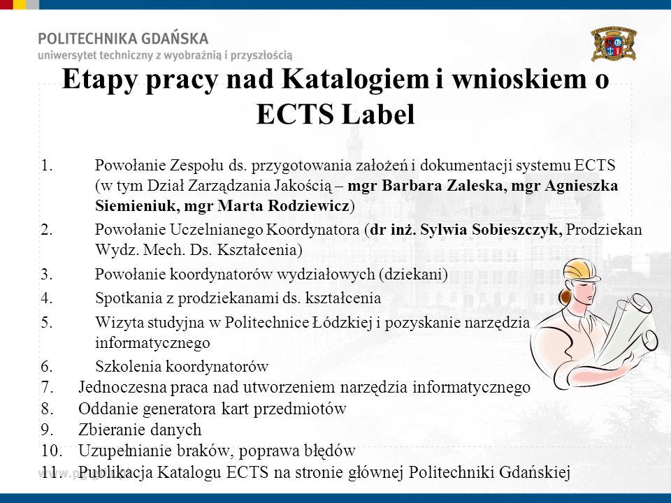 Etapy pracy nad Katalogiem i wnioskiem o ECTS Label