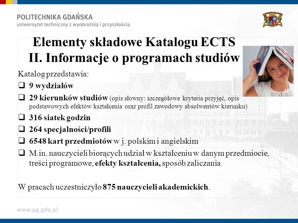 Elementy składowe Katalogu ECTS II. Informacje o programach studiów