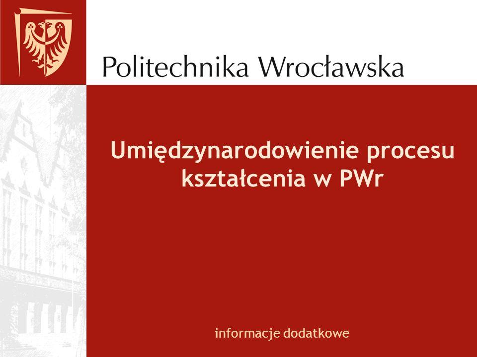 Umiędzynarodowienie procesu kształcenia w PWr