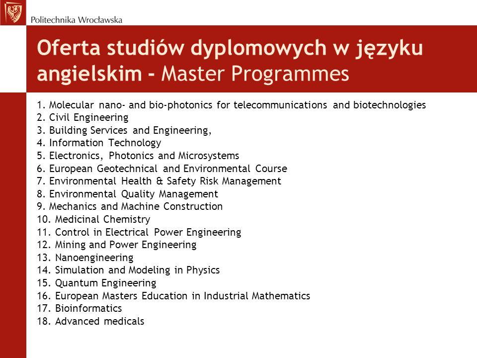 Oferta studiów dyplomowych w języku angielskim - Master Programmes