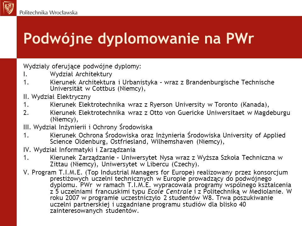 Podwójne dyplomowanie na PWr