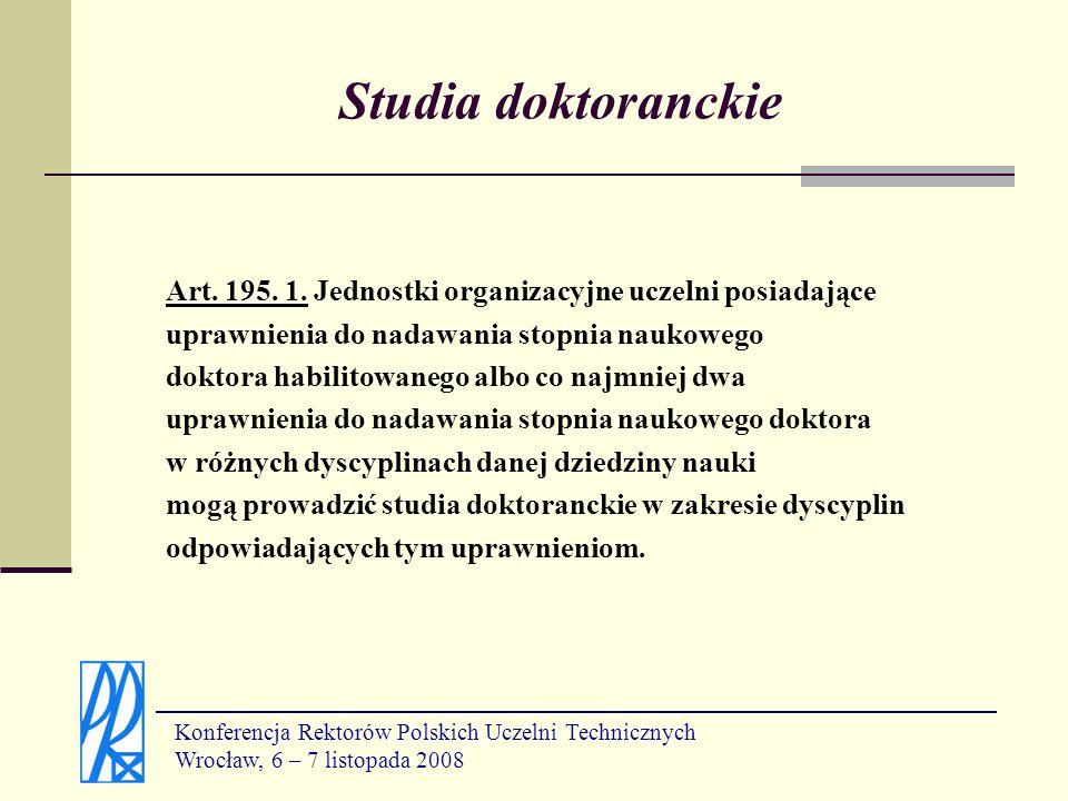 Studia doktoranckie Art. 195. 1. Jednostki organizacyjne uczelni posiadające. uprawnienia do nadawania stopnia naukowego.