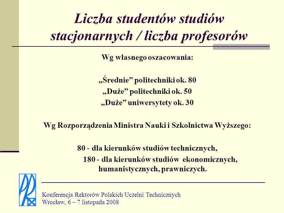 Liczba studentów studiów stacjonarnych / liczba profesorów