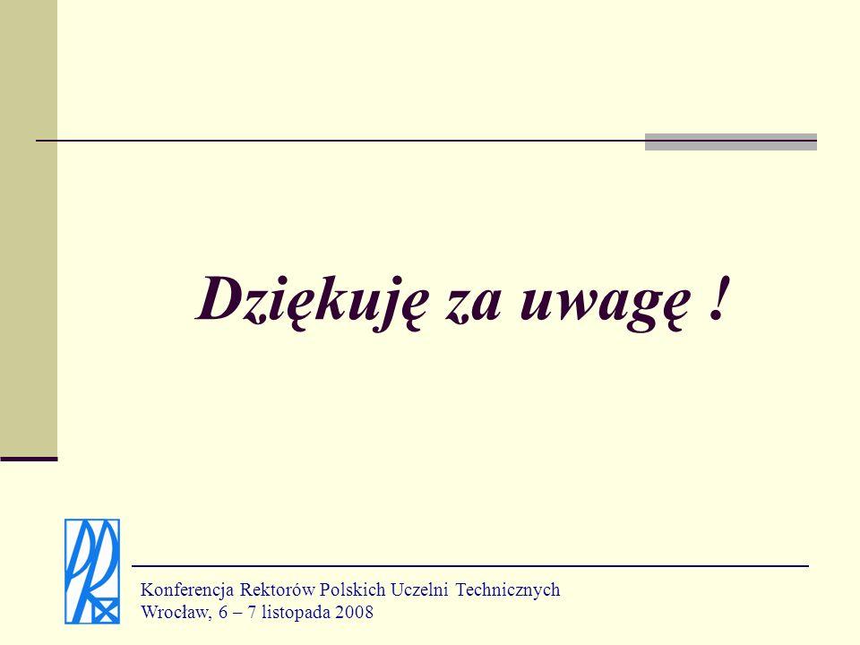 Dziękuję za uwagę ! Konferencja Rektorów Polskich Uczelni Technicznych