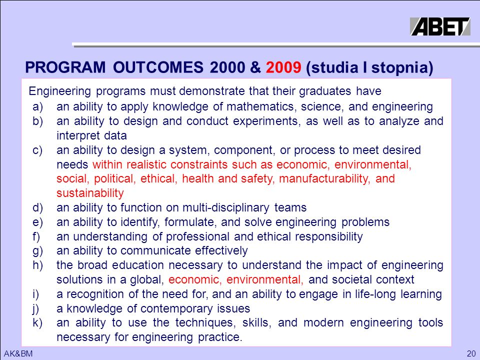 PROGRAM OUTCOMES 2000 & 2009 (studia I stopnia)