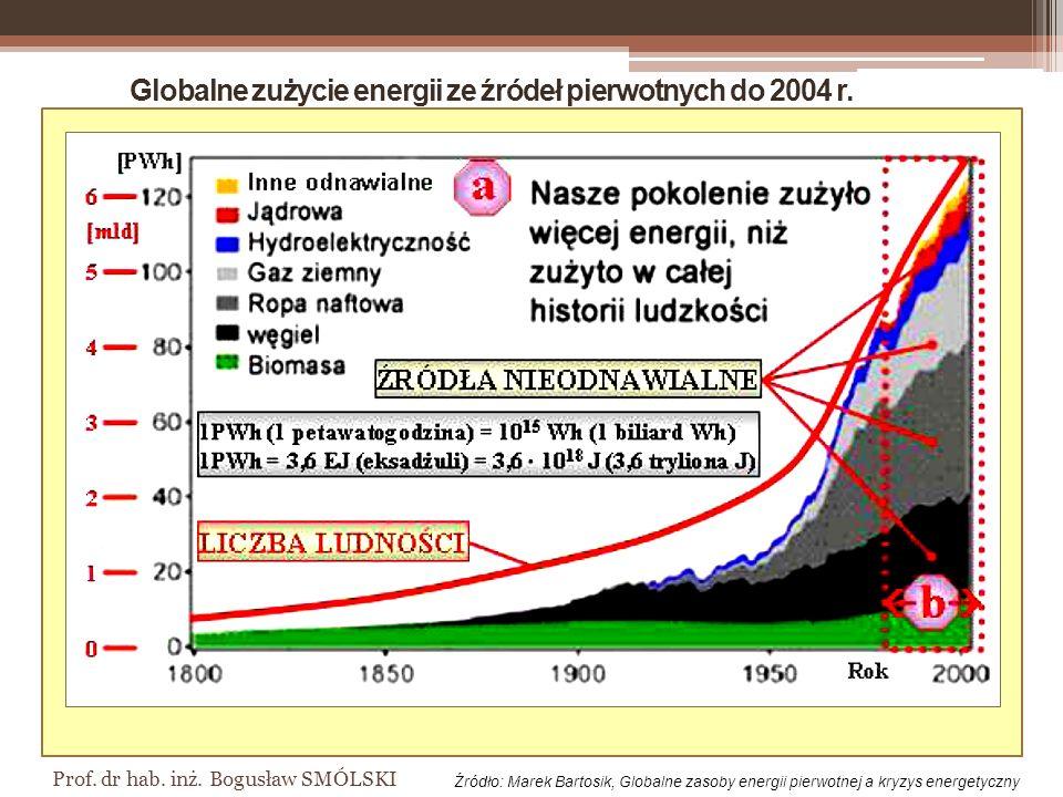 Globalne zużycie energii ze źródeł pierwotnych do 2004 r.
