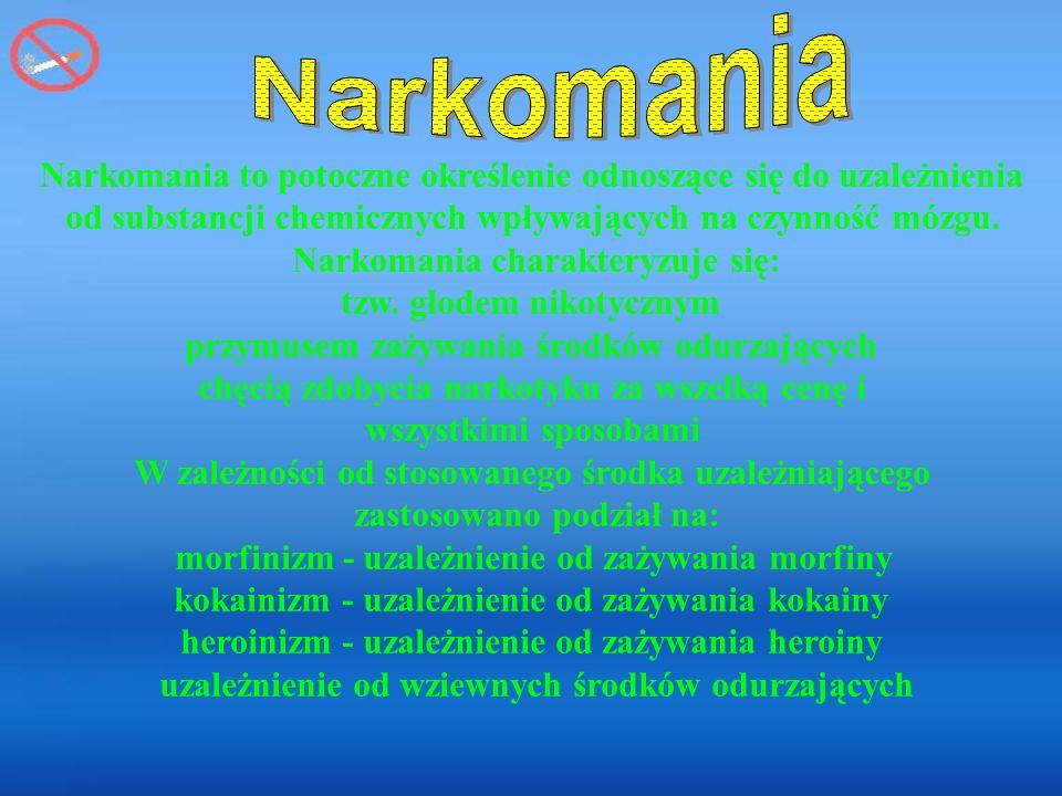 Narkomania Narkomania to potoczne określenie odnoszące się do uzależnienia. od substancji chemicznych wpływających na czynność mózgu.