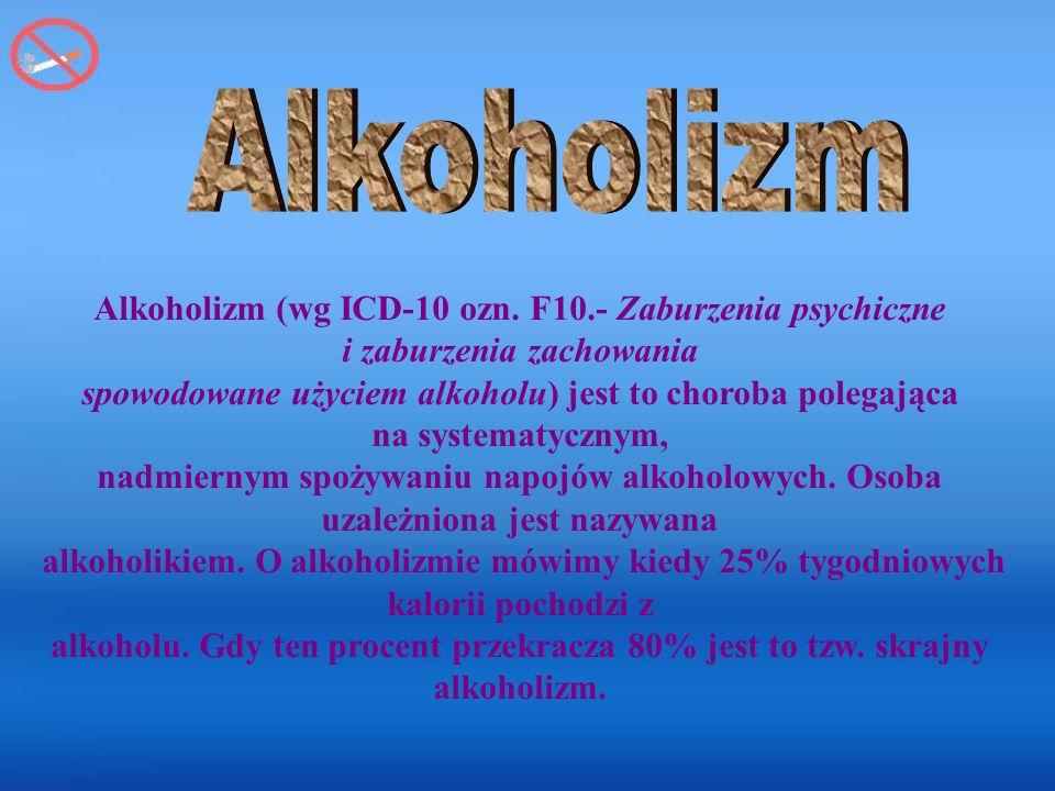 Alkoholizm Alkoholizm (wg ICD-10 ozn. F10.- Zaburzenia psychiczne