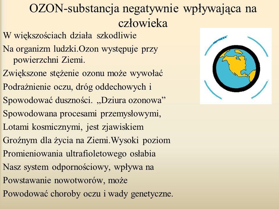 OZON-substancja negatywnie wpływająca na człowieka