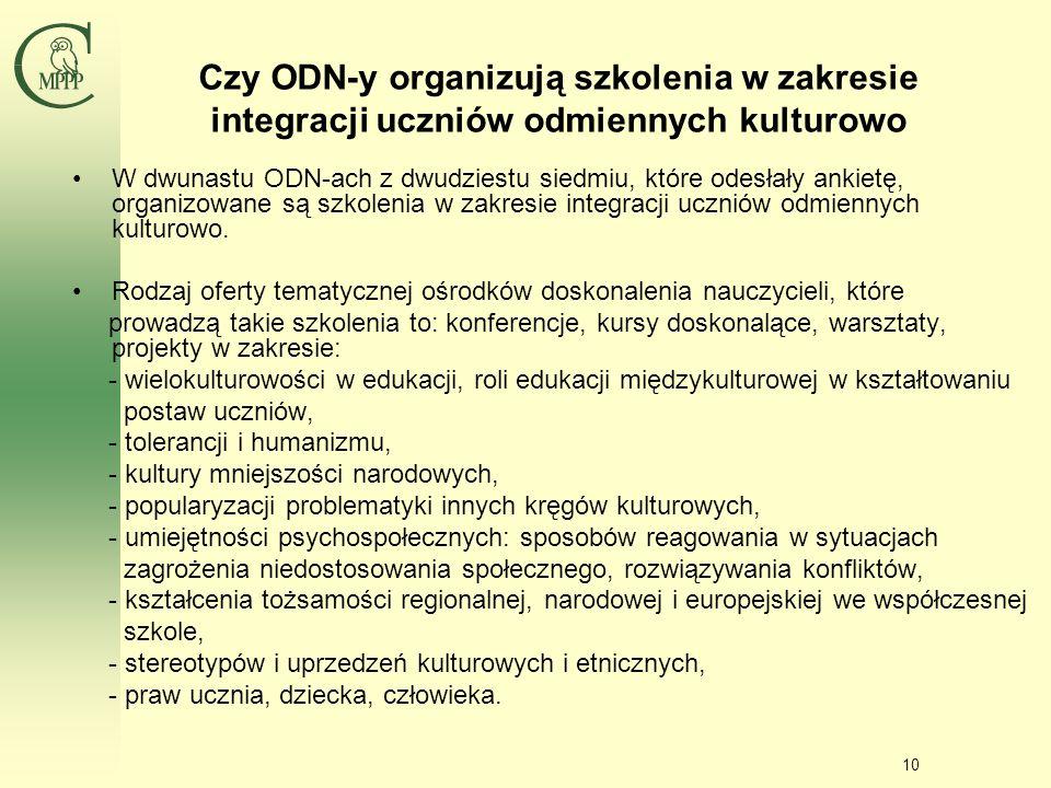 Czy ODN-y organizują szkolenia w zakresie integracji uczniów odmiennych kulturowo