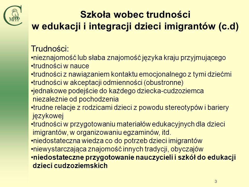 Szkoła wobec trudności w edukacji i integracji dzieci imigrantów (c.d)