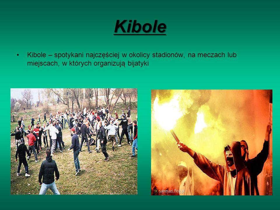 Kibole Kibole – spotykani najczęściej w okolicy stadionów, na meczach lub miejscach, w których organizują bijatyki.
