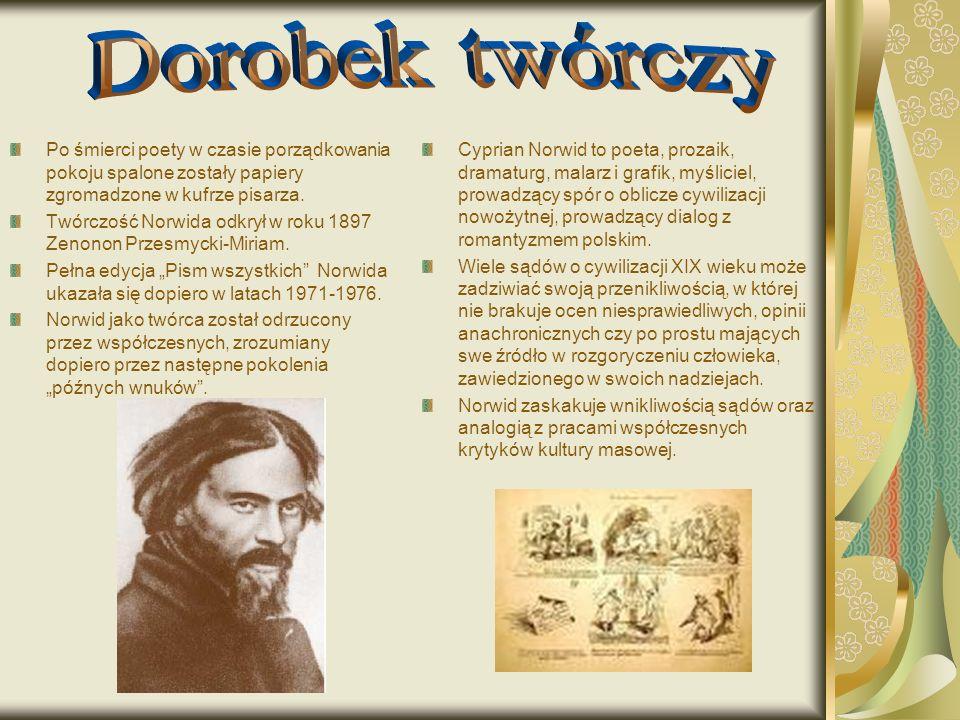 Dorobek twórczy Po śmierci poety w czasie porządkowania pokoju spalone zostały papiery zgromadzone w kufrze pisarza.