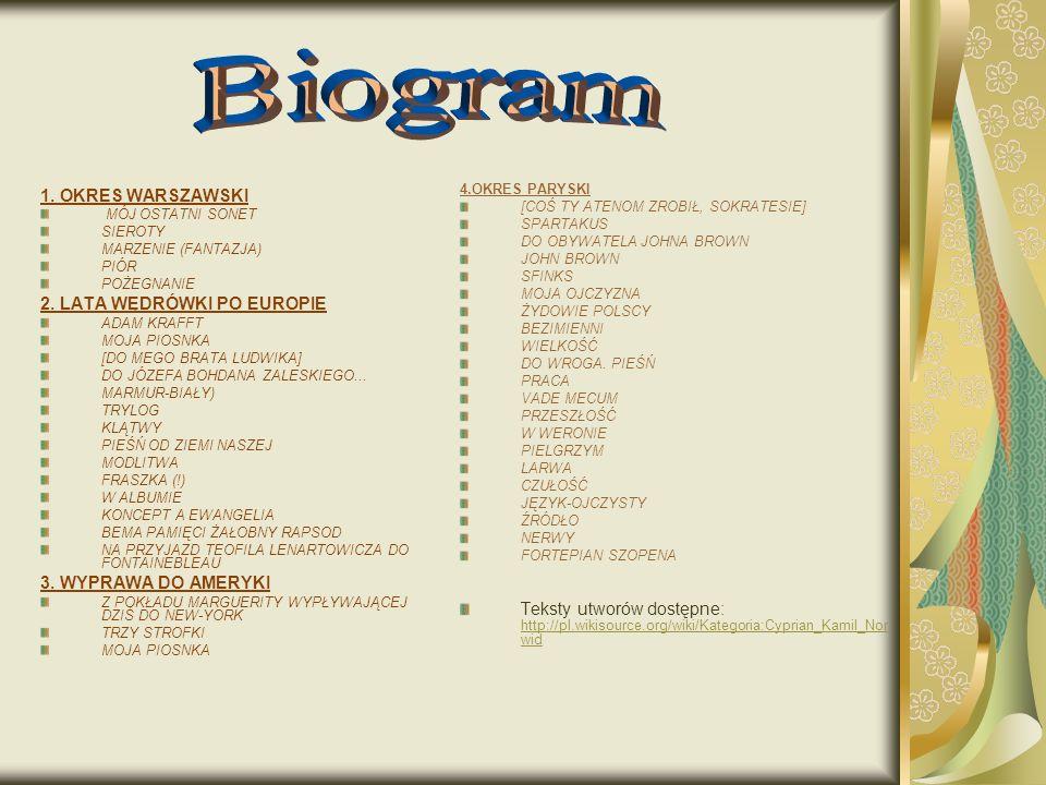 Biogram 1. OKRES WARSZAWSKI 2. LATA WĘDRÓWKI PO EUROPIE