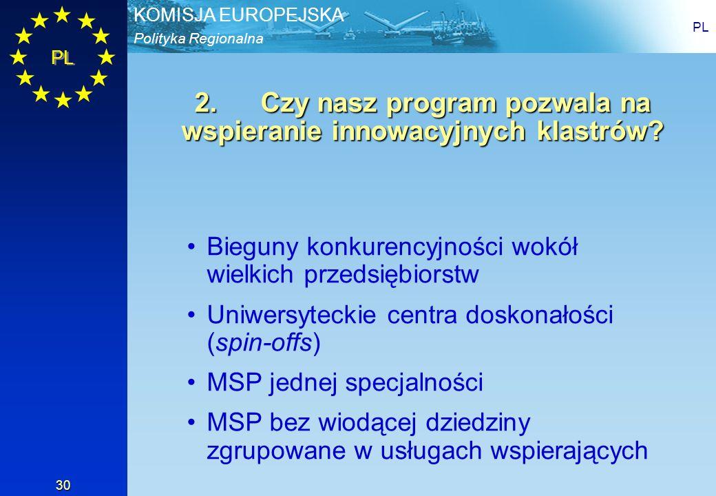 2. Czy nasz program pozwala na wspieranie innowacyjnych klastrów