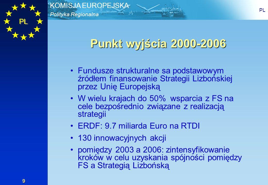 PL Punkt wyjścia 2000-2006. Fundusze strukturalne sa podstawowym źródłem finansowanie Strategii Lizbońskiej przez Unię Europejską.