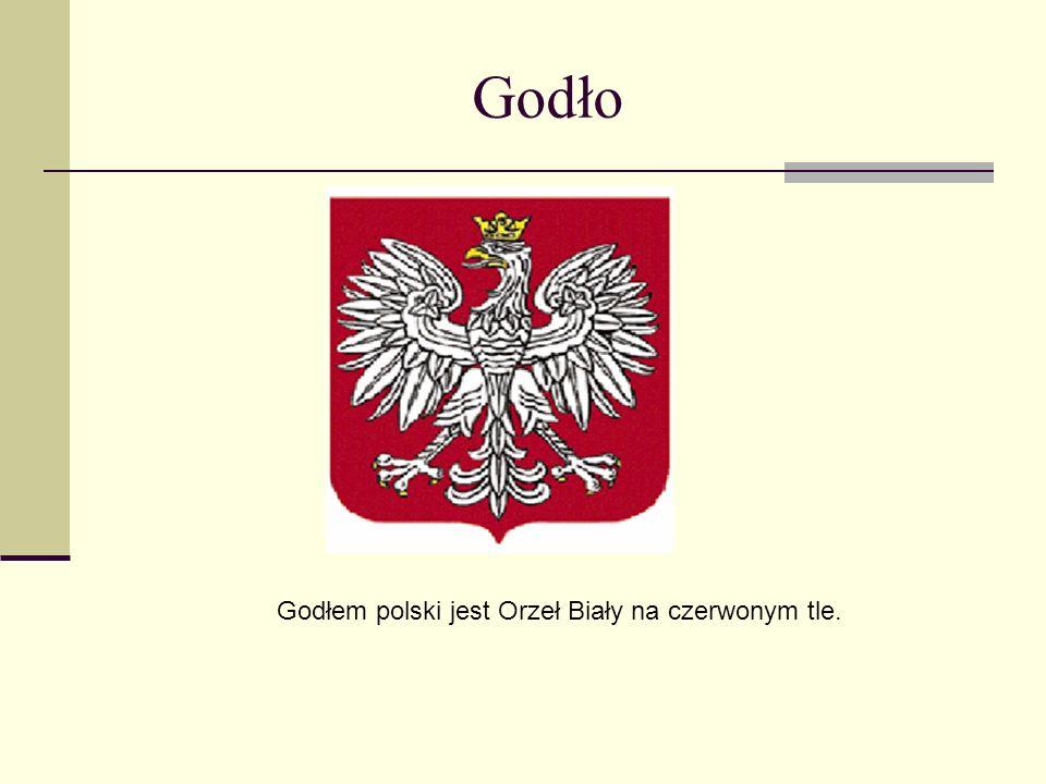 Godłem polski jest Orzeł Biały na czerwonym tle.