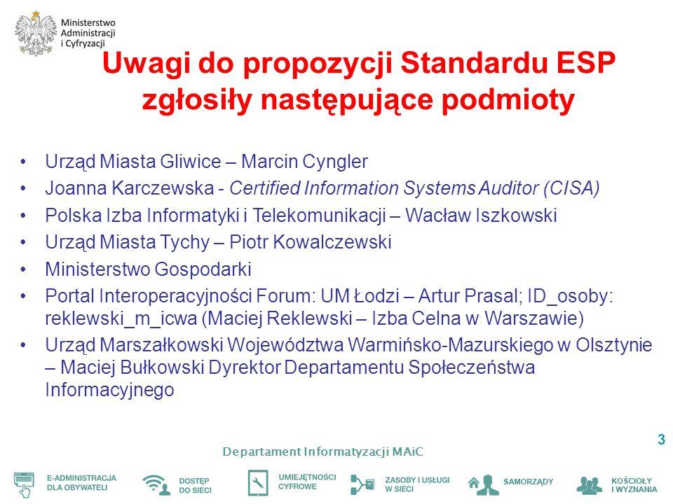 Uwagi do propozycji Standardu ESP zgłosiły następujące podmioty