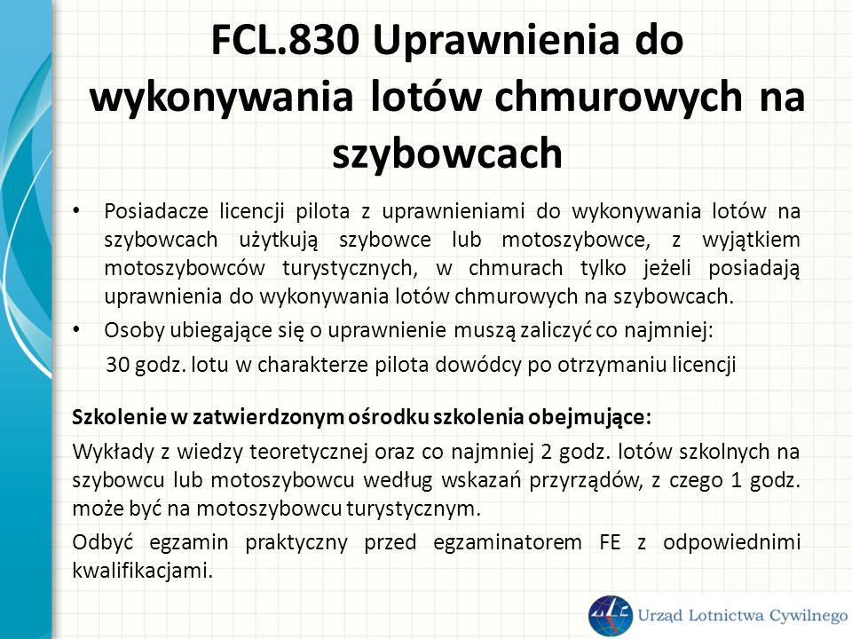 FCL.830 Uprawnienia do wykonywania lotów chmurowych na szybowcach