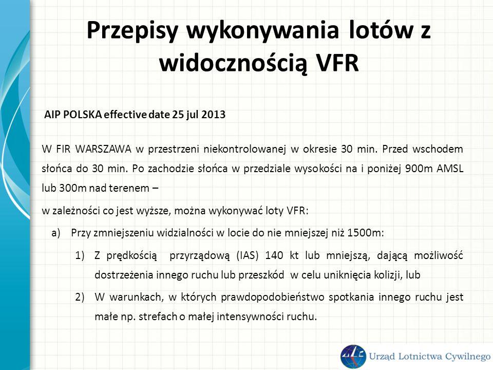 Przepisy wykonywania lotów z widocznością VFR