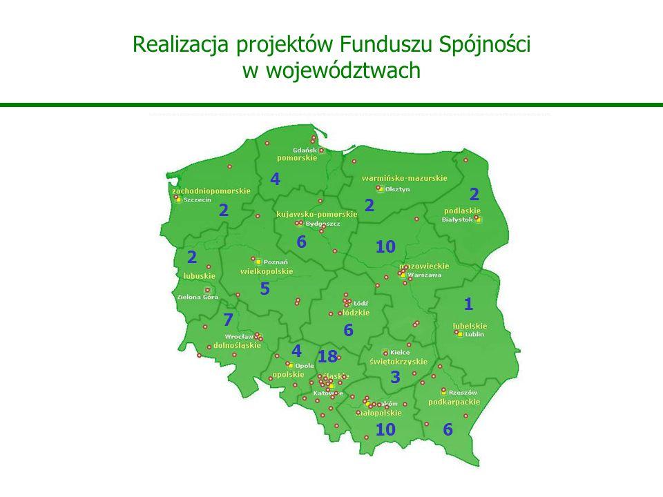 Realizacja projektów Funduszu Spójności w województwach