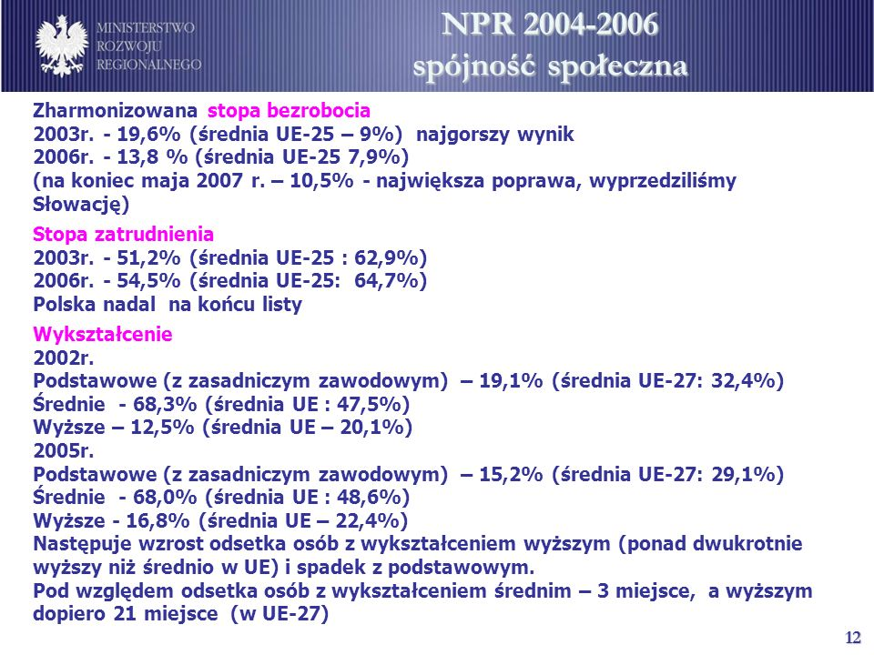 NPR 2004-2006 spójność społeczna