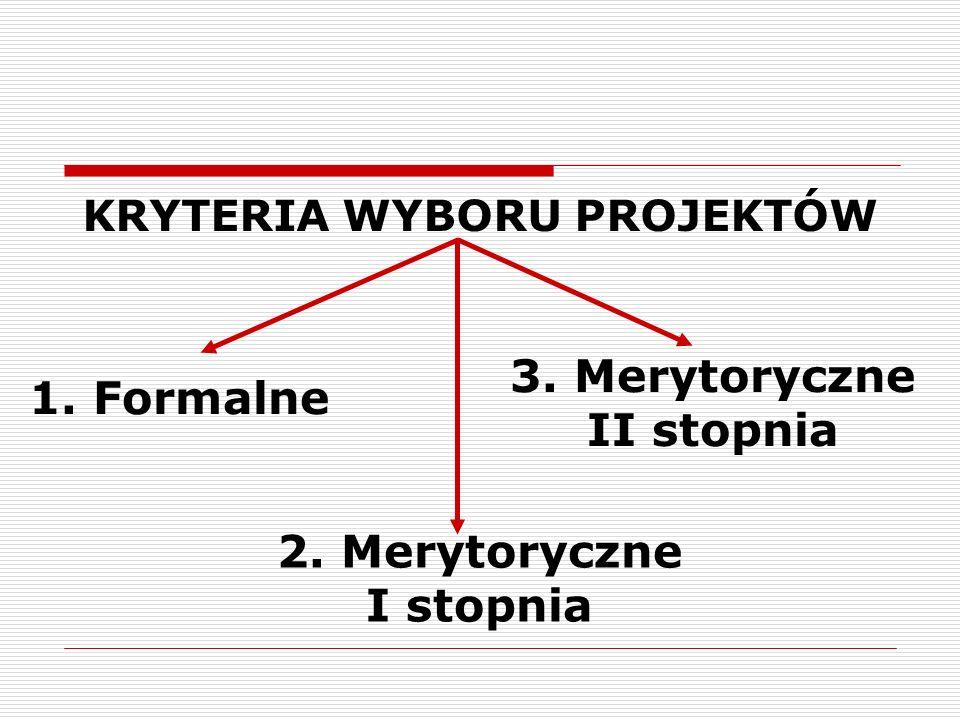 1. Formalne 3. Merytoryczne II stopnia 2. Merytoryczne I stopnia