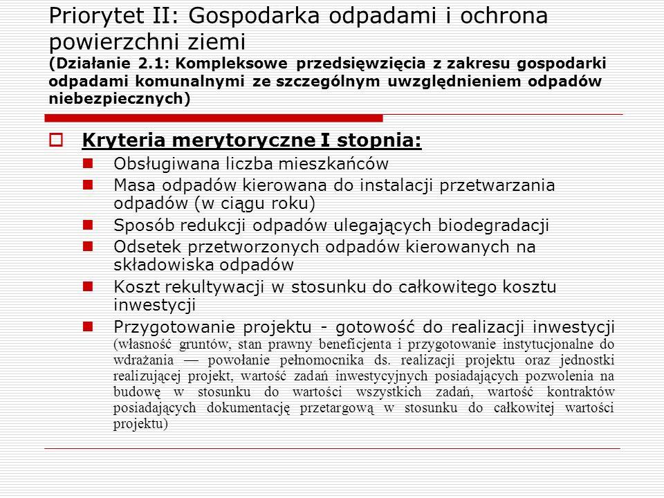 Priorytet II: Gospodarka odpadami i ochrona powierzchni ziemi (Działanie 2.1: Kompleksowe przedsięwzięcia z zakresu gospodarki odpadami komunalnymi ze szczególnym uwzględnieniem odpadów niebezpiecznych)