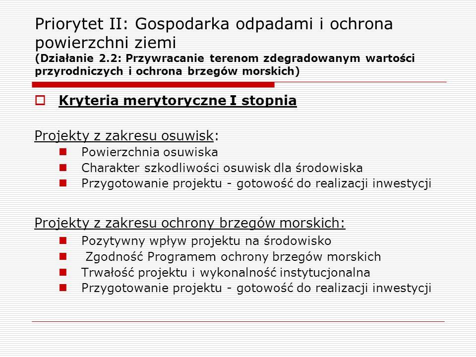 Priorytet II: Gospodarka odpadami i ochrona powierzchni ziemi (Działanie 2.2: Przywracanie terenom zdegradowanym wartości przyrodniczych i ochrona brzegów morskich)