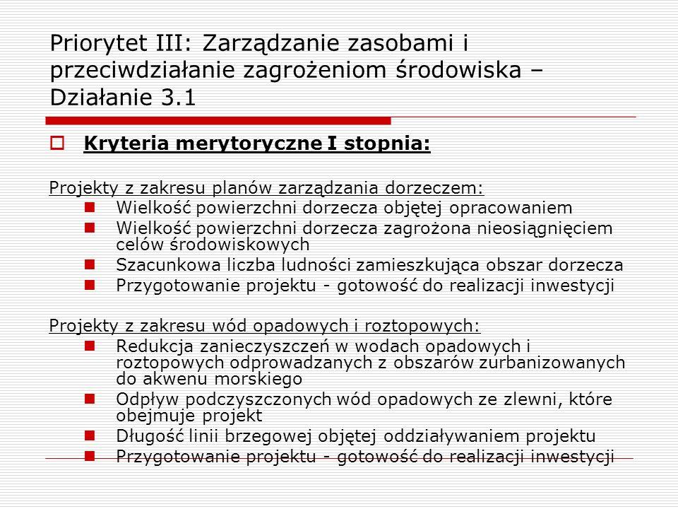 Priorytet III: Zarządzanie zasobami i przeciwdziałanie zagrożeniom środowiska – Działanie 3.1