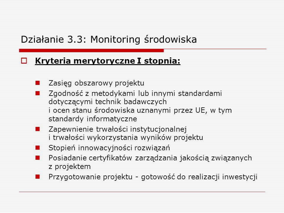 Działanie 3.3: Monitoring środowiska