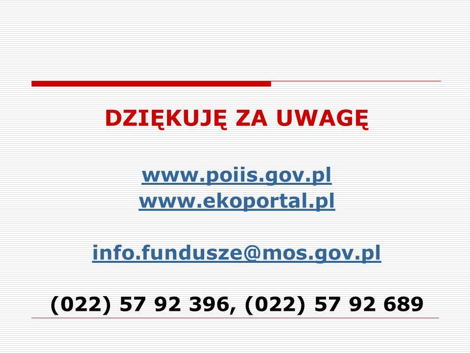 DZIĘKUJĘ ZA UWAGĘ www.poiis.gov.pl www.ekoportal.pl