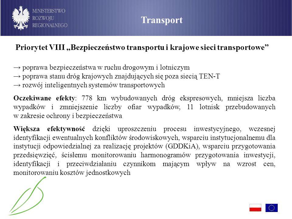 """Transport Priorytet VIII """"Bezpieczeństwo transportu i krajowe sieci transportowe"""