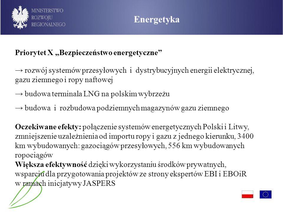 """Energetyka Priorytet X """"Bezpieczeństwo energetyczne"""
