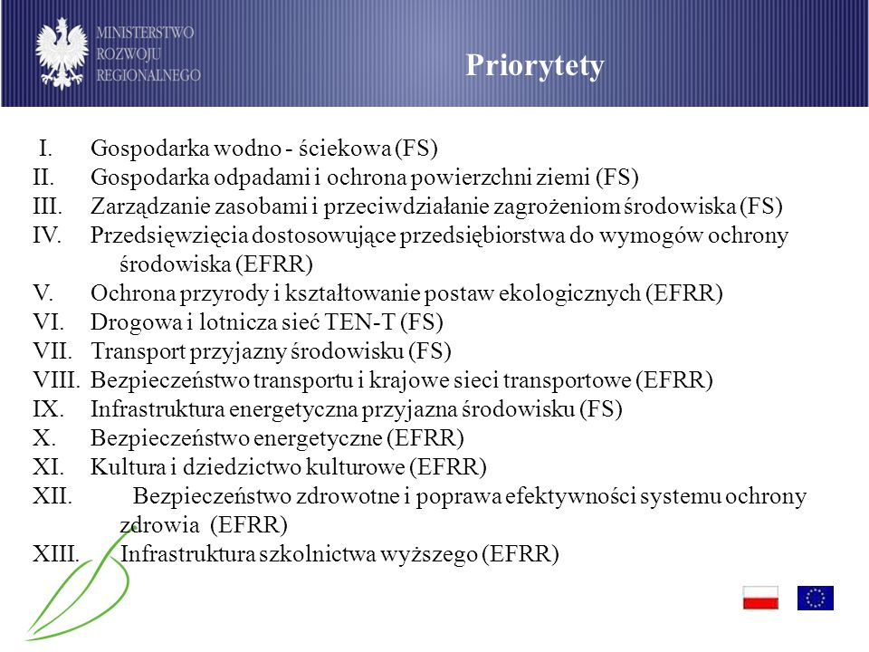 Priorytety I. Gospodarka wodno - ściekowa (FS)