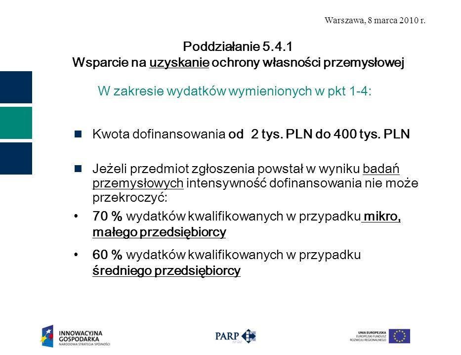 W zakresie wydatków wymienionych w pkt 1-4: