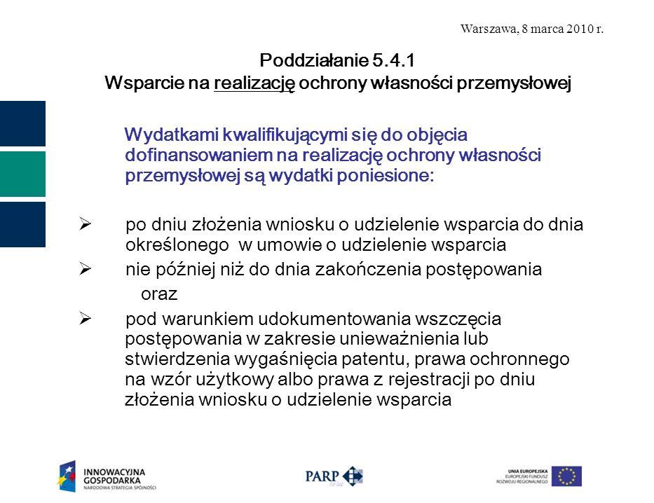 Poddziałanie 5.4.1 Wsparcie na realizację ochrony własności przemysłowej