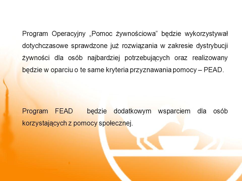 """Program Operacyjny """"Pomoc żywnościowa będzie wykorzystywał dotychczasowe sprawdzone już rozwiązania w zakresie dystrybucji żywności dla osób najbardziej potrzebujących oraz realizowany będzie w oparciu o te same kryteria przyznawania pomocy – PEAD."""