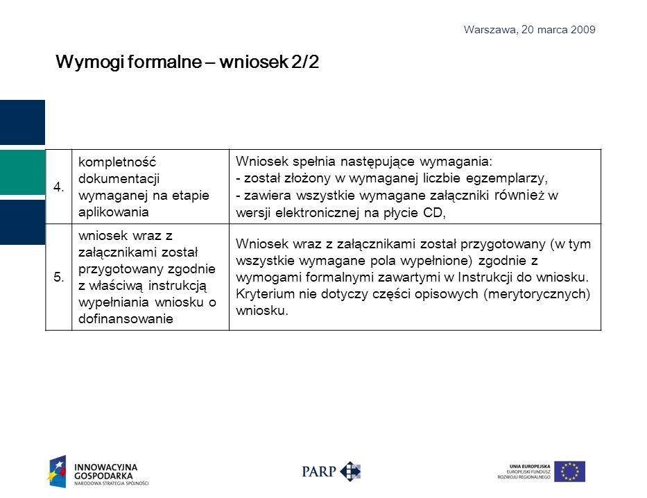 Wymogi formalne – wniosek 2/2