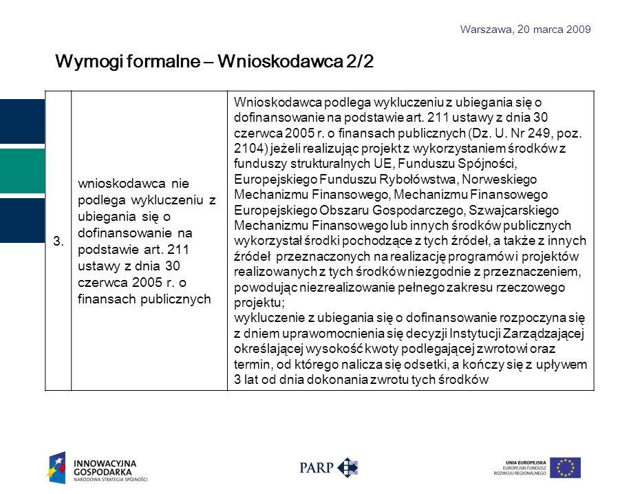 Wymogi formalne – Wnioskodawca 2/2