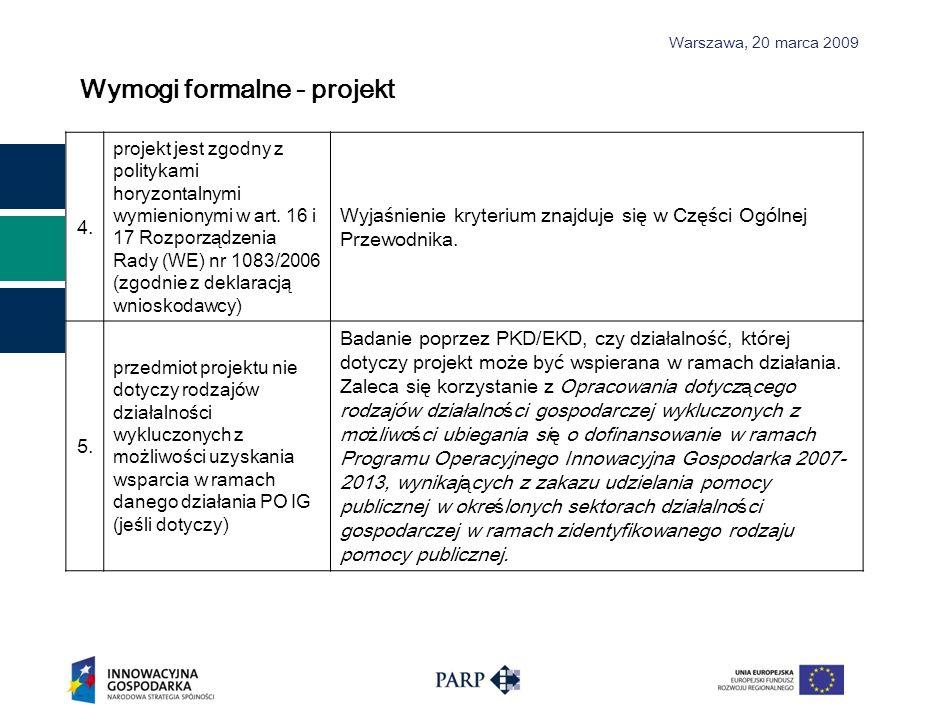Wymogi formalne - projekt